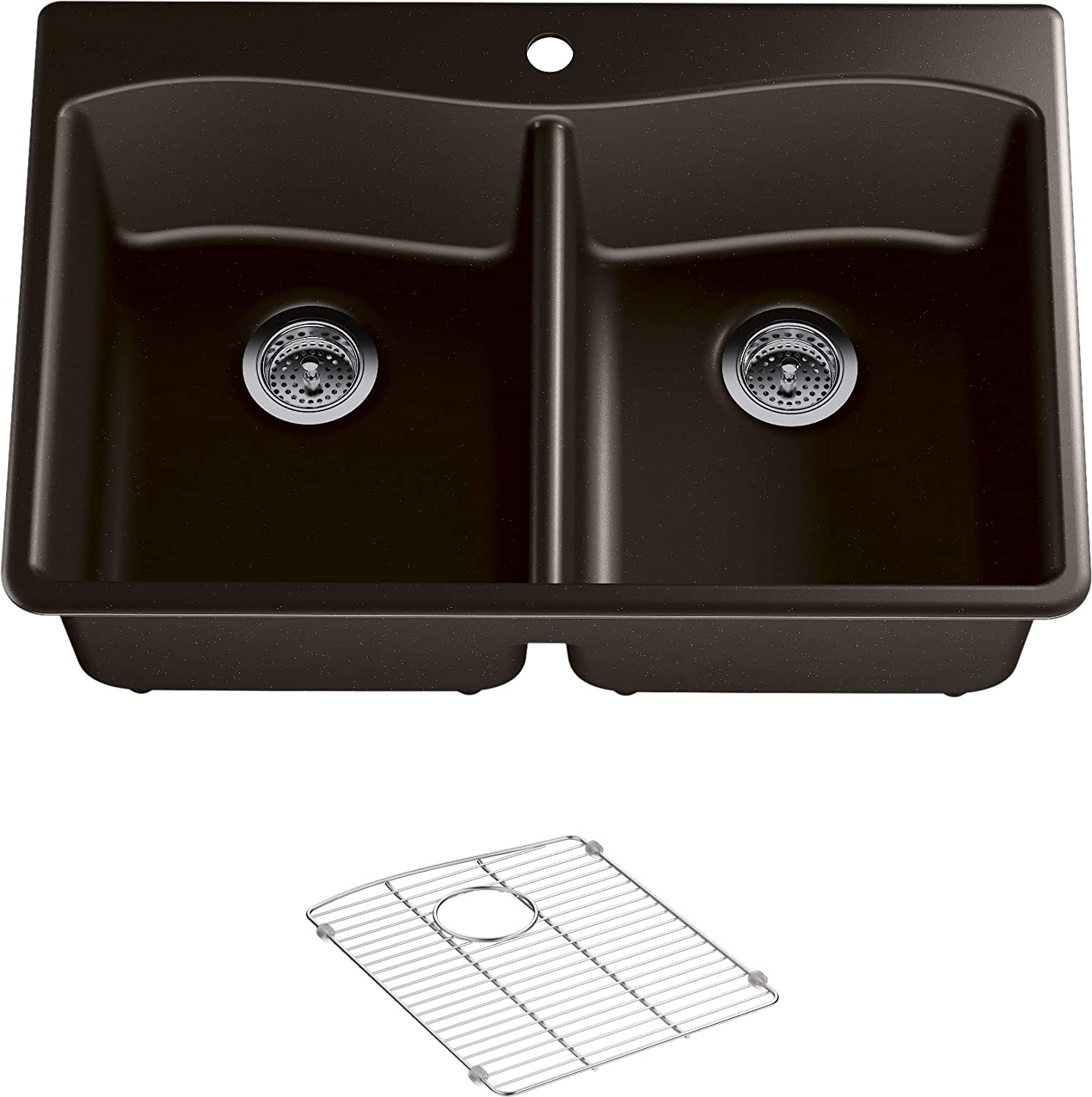 KOHLER K-8185-1-CM2 Kennon 33 in. x 22 in. x 9-5 8 in. Neoroc top Mount Double-Equal Kitchen Sink, Matte Brown