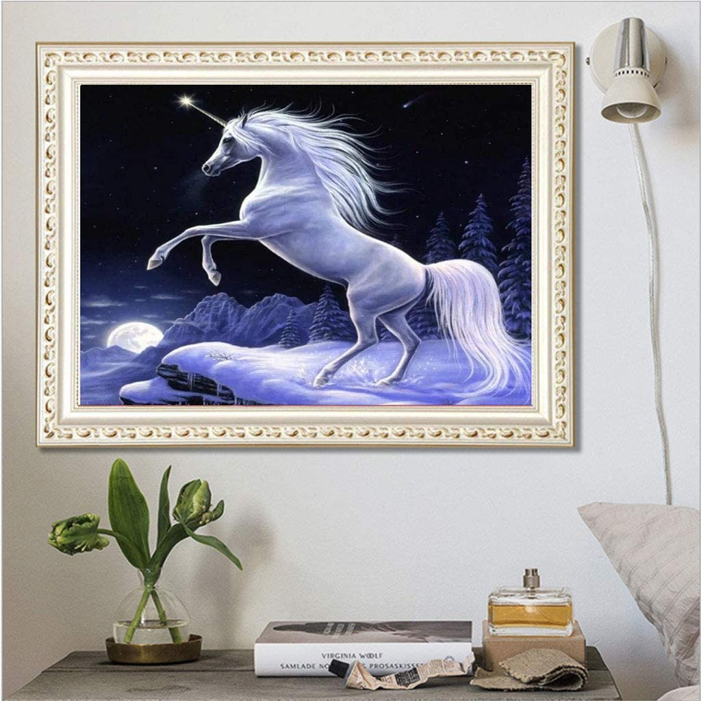 immagini per numeri decorazione con strass a forma di unicorno bianco ricamo a punto croce per casa cucina hotel salone parete mosaico adulti 40 x 30 cm Quadro 5D con diamantini fai da te