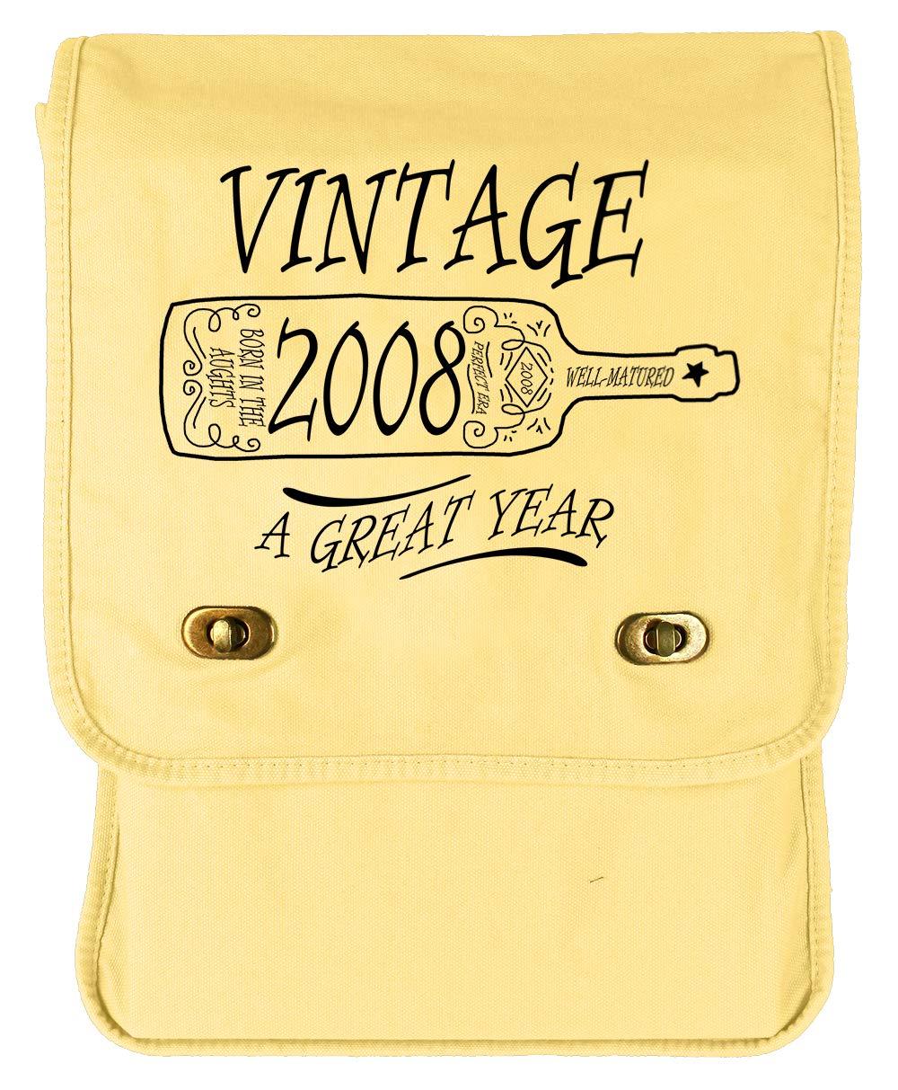 Tenacitee Aged Like a Fine Wine 2008 Grey Brushed Canvas Messenger Bag