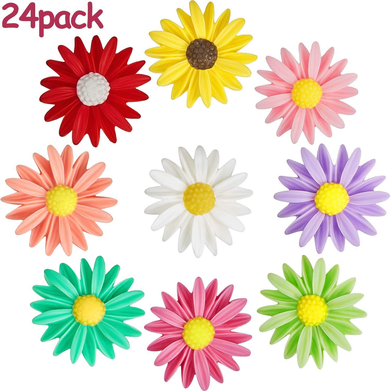 24 Pieces Fridge Magnets Daisy Flower Refrigerator Magnets Colorful Flower Fridge Magnets for Whiteboard Refrigerator Office Photo Cabinet Bulletin Board Decoration