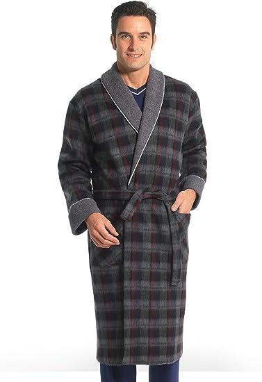 Thermovitex Robe De Chambre Unie En Courtelle Ecossais Gris 3xl Amazon Fr Vetements Et Accessoires