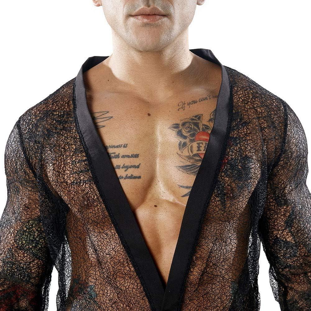 SoonerQuicker Camicia Uomo Mesh Trasparente Collo a V Manica Lunga Classica Elegante Regular Fit Camicie Camice Ufficio Camicetta da Lavoro