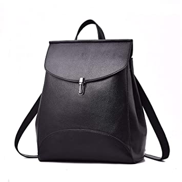 4635453b51 Image Unavailable. Image not available for. Color  Women Backpack PU  Leather Backpacks for Teenage Girls Female School Shoulder Bag Bagpack  Mochila Black ...