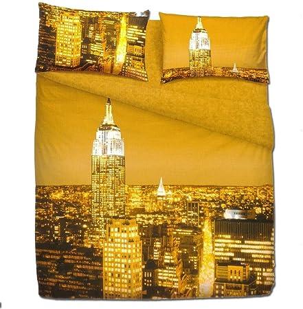 Lenzuola Matrimoniali Bassetti New York.Bassetti Set Lenzuola Matrimoniali 2 Piazze New York Effetto Copriletto Amazon It Casa E Cucina