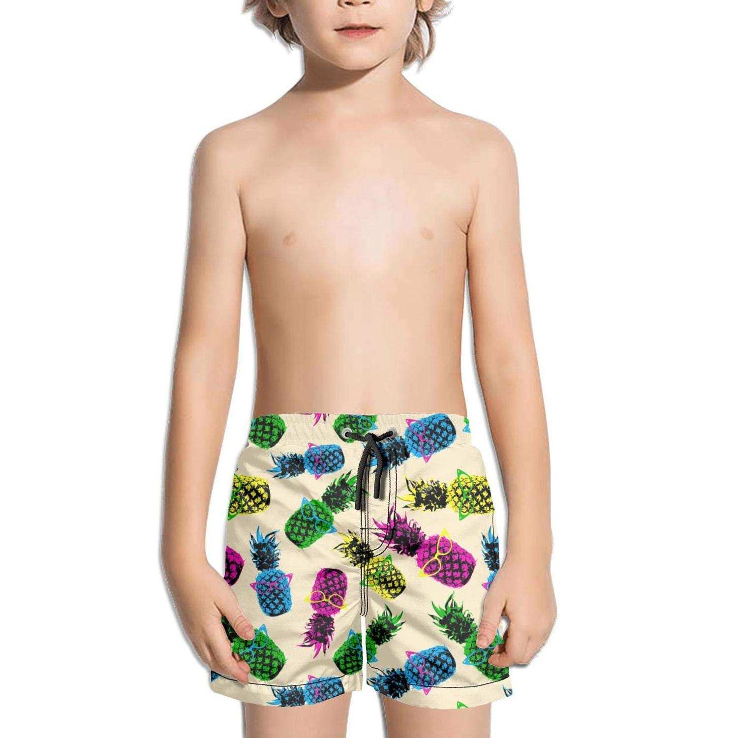 Ouxioaz Boys' Swim Trunk Hipster Style Pineapple Fruit Elements with Vintage Eye Glasses Beach Board Shorts