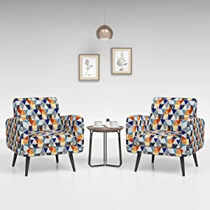 JustRoomy Mid Century Accent Chair Set of 2 Modern Tufted Fabric Arm Chair with Black Tapered Leg Removable Seat Cushion Deep Seating Comfortable Bedroom Living Room Armchair, Colorful Rhombus