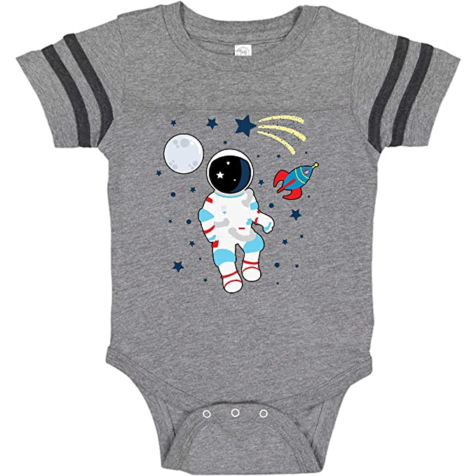 inktastic I Love Space with Moon and Spaceship Long Sleeve Creeper