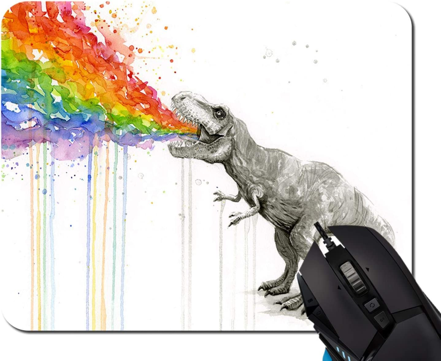 Mouse Pad,Watercolor Dinosaur Spray Rainbow Mouse Pad Rectangle Non-Slip Rubber Mousepad Office Accessories Desk Decor Mouse Pads for Computers Laptop