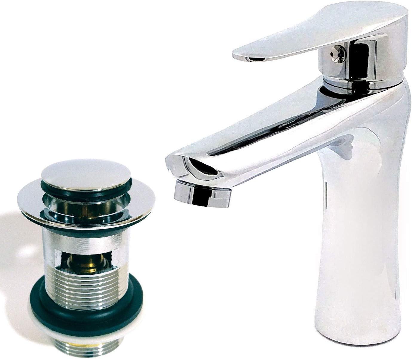 Xcel Home MP1732 Robinet mitigeur lavabo rond mono bloc de vidage pour salle de bain moderne Argent/é