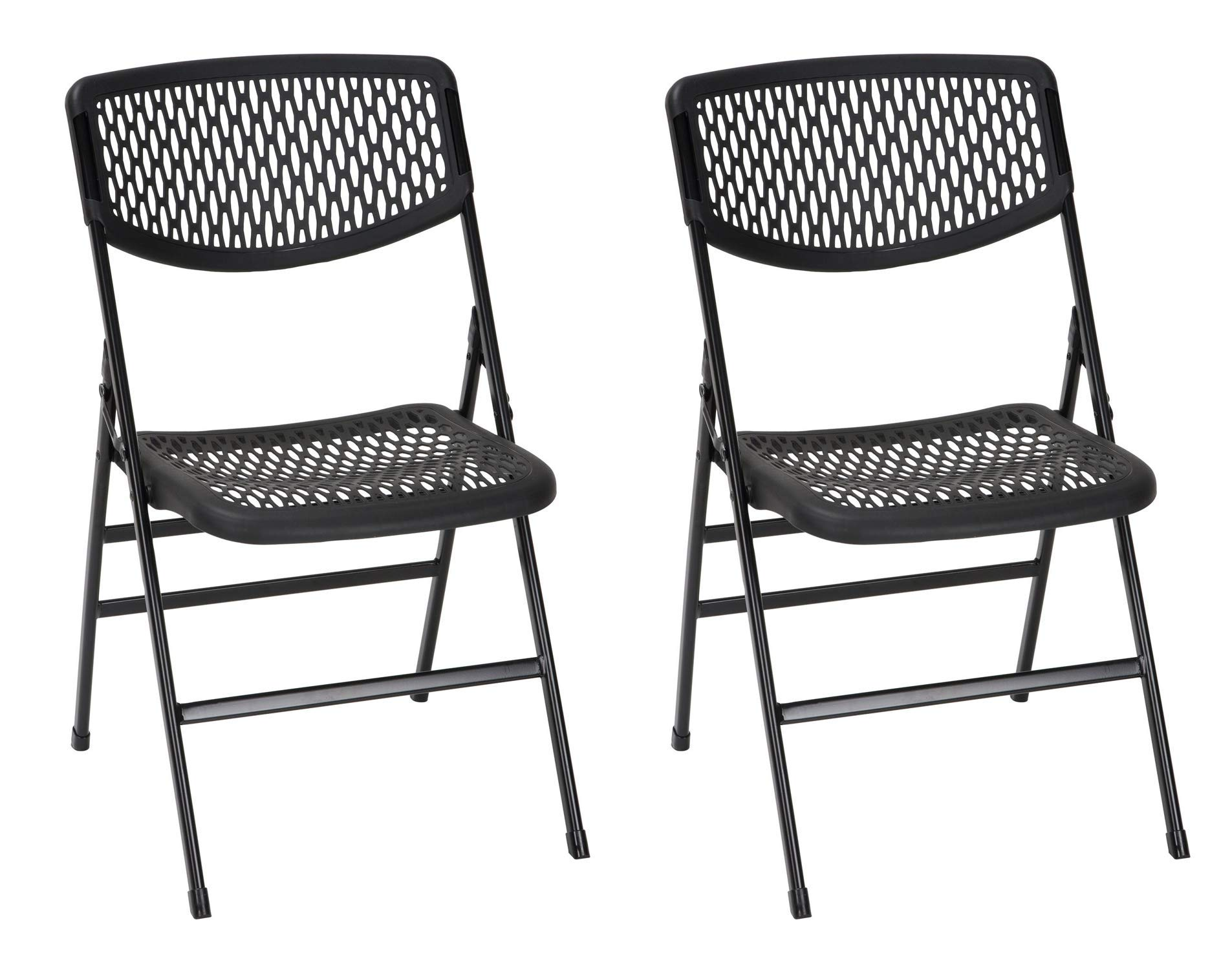COSCO Commercial Resin Mesh, Black, 2-Pack Folding Chairs, by Cosco