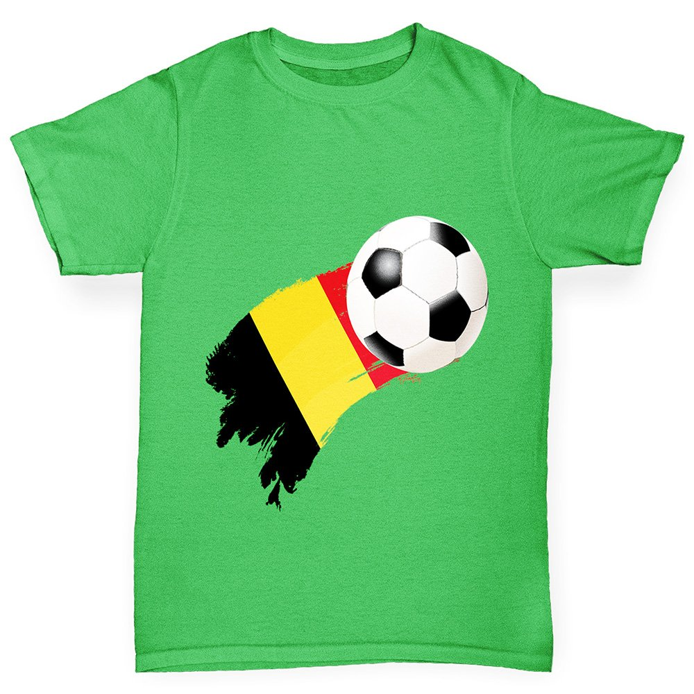 Comfortable and Soft Classic Tee with Unique Design Age 12-14 Green Twisted Envy Boys Belgium Football Flag Paint Splat Cotton T-Shirt