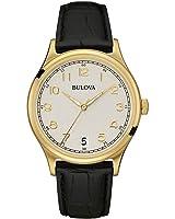 Bulova Men's Designer Watch Classic Vintage Wrist Watch  Stainless Steel / Leather Strap