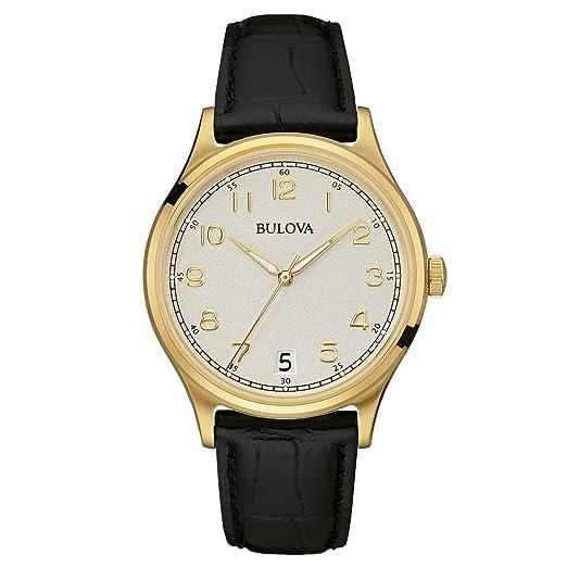 Bulova Classic Vintage - Reloj con Mecanismo de Cuarzo para Hombre, Esfera analógica, Correa de Cuero Negro: Amazon.es: Relojes