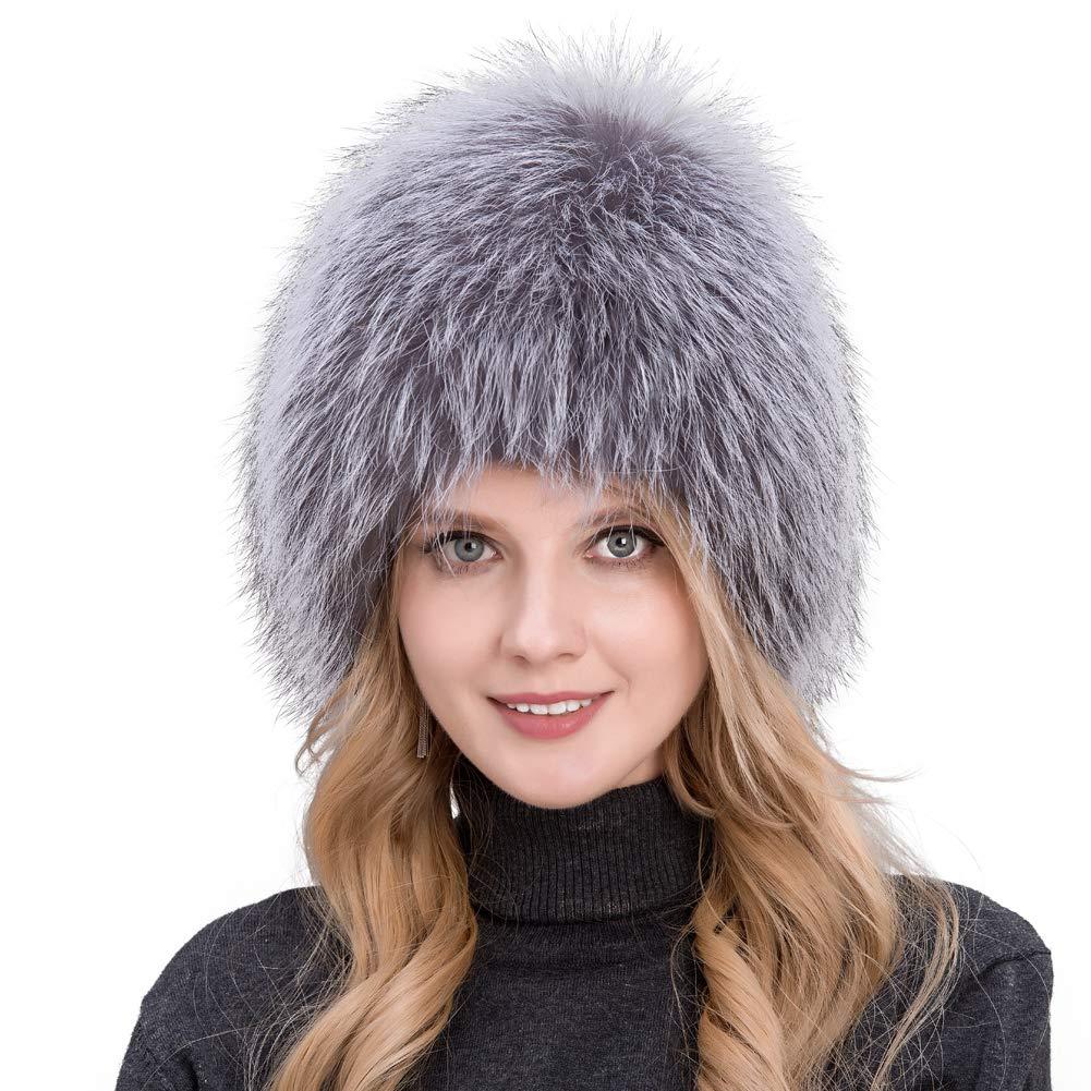 JERYAFUR Women's Winter hat Natural Fox Fur Grass hat Knit Liner Black Brown Silver Fox Fur hat QHL (Silver Fox)