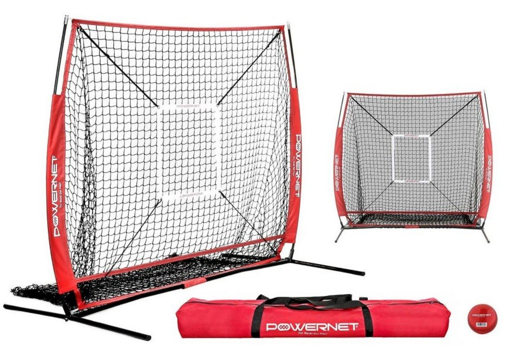 PowerNet Baseball and Softball Practice Net 5 x 5 (Bundle with Strike Zone and Training Ball)