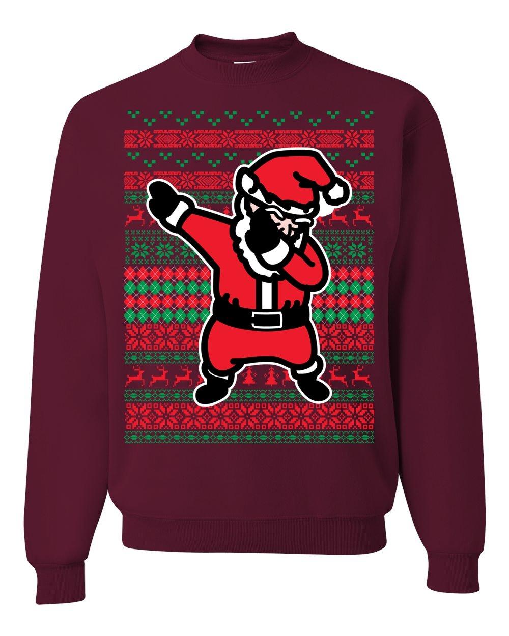 Dabbing Santa Ugly Christmas Sweater Unisex Crewneck Maroon 3971 Shirts