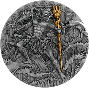 Poseidon Dios Del Mar Gods 2 Oz Moneda Plata 2 Niue 2018 Amazon Es