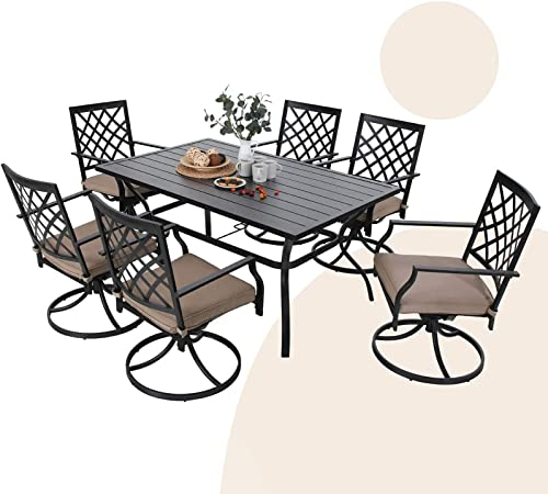 MFSTUDIO 7-Piece Metal Outdoor Patio Dining Bistro Set