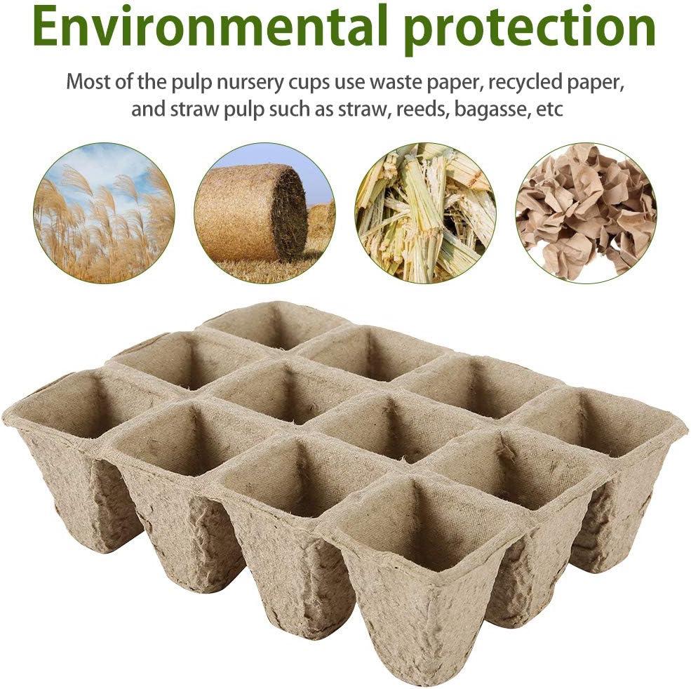17pcs Relax love Macetas de Turba Biodegradable de Semillero Bandeja de Arranque 10 x 12 Celdas Kit de Bandeja de Semillas de Jardiner/ía para Plantas