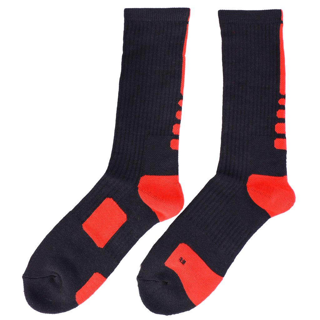 Generic Men Quick-drying Towel Knee Socks Tube Outdoor Sports Soccer Football Basketball Elite Socks - Black