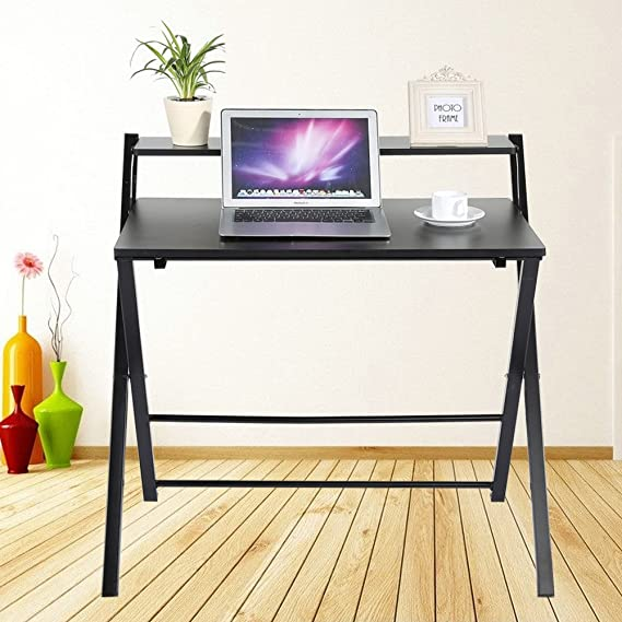 Uberlegen Zerone Faltbarer Tisch,Computertisch,Laptoptisch,Tragbarer Tisch Aus Holz  Für Arbeit Und Spass(Weiß,Schwarz) (Schwarz)