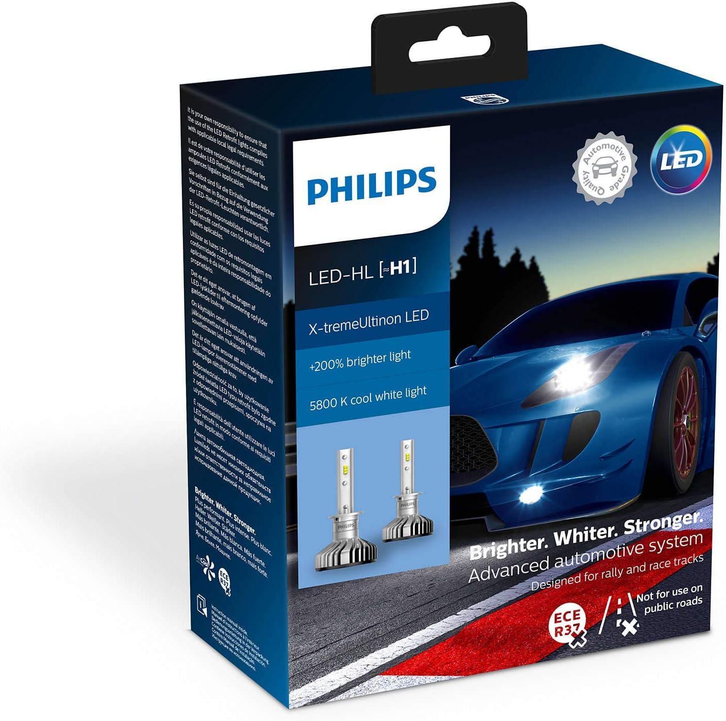Philips automotive lighting 11258XUX2 X-tremeUltinon LED Faros Delanteros (H1), 6.500K, Set de 2