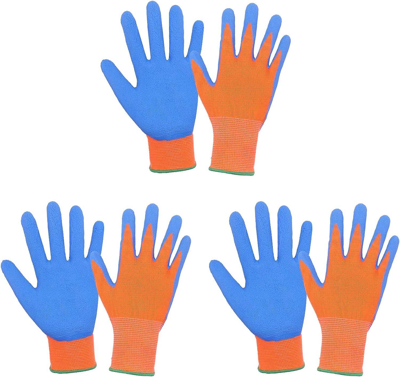 3 Pairs Kids Gardening Gloves for age 2-13, Rubber Coated Palm Garden Gloves for Boys Girls, Children Garden Gripper Gloves