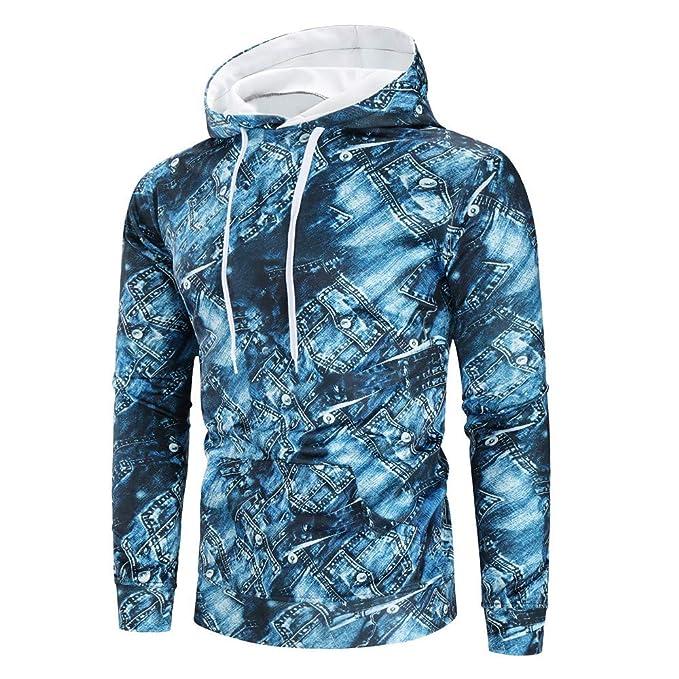 BBestseller Sweatshir Los Hombres de Invierno cálido Splicing Cuero 3D Impresa Sudadera Abrigo Chaqueta Outwear suéter Hooded Camisetas Pullover: Amazon.es: ...
