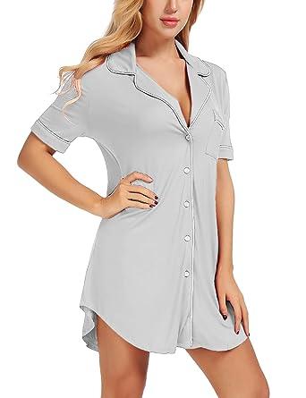 271ccae976 FISOUL Women s Sexy Short Sleeve Nightshirt Comfy Pajama Top Button Nightie  Sleepwear