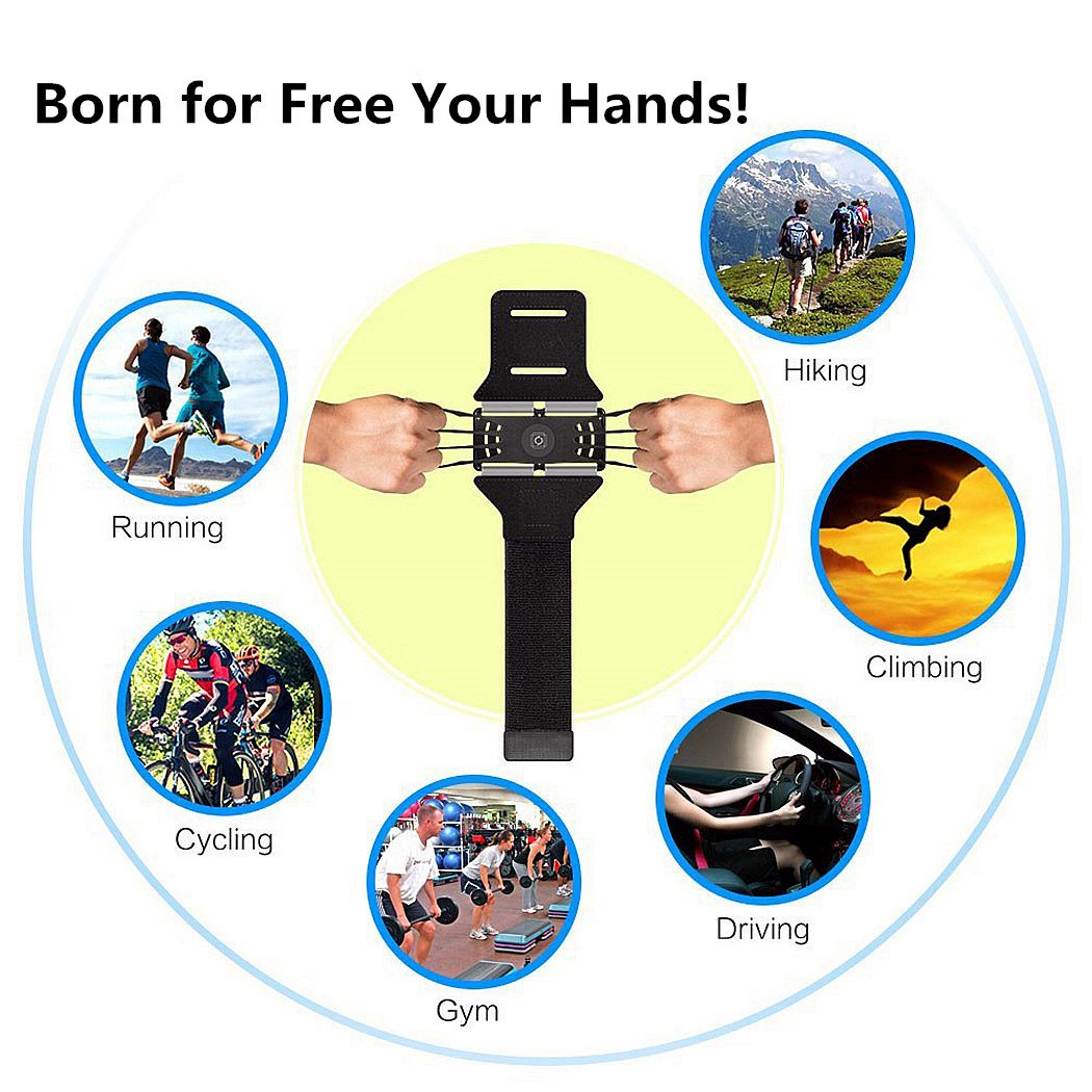 Sports Armband, 180° Rotatable Workout Cellphone Armband Phone Holder for Running Jogging, Cell Phone Running Armband for 4-6'' Phone, iPhone 8 7 6s Plus, Samsung Galaxy S8 S7 S6 (Black) by APzek (Image #7)