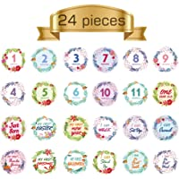 Baby Monthly Sticker Baby Belly StickersMilestone Monthly Age Sticker for Unisex Baby by TIANNUOFA (24 PCs)