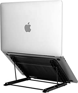 Emoly Laptop Stand Upgraded, Adjustable Portable Laptop Holder for Desk, Aluminum Ventilated Notebook Riser for MacBook Air Pro, More 10-15.6 inches PC Computer, Tablet, iPad (Black)