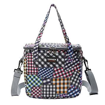 Gudelaa Lunch Bag Outdoor Tote Picknick-Tasche Plaid Nähen Patten ...