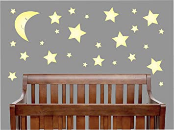 Amazon.com : Yellow Moon and Star Wall Decals / Star Nursery Wall ...