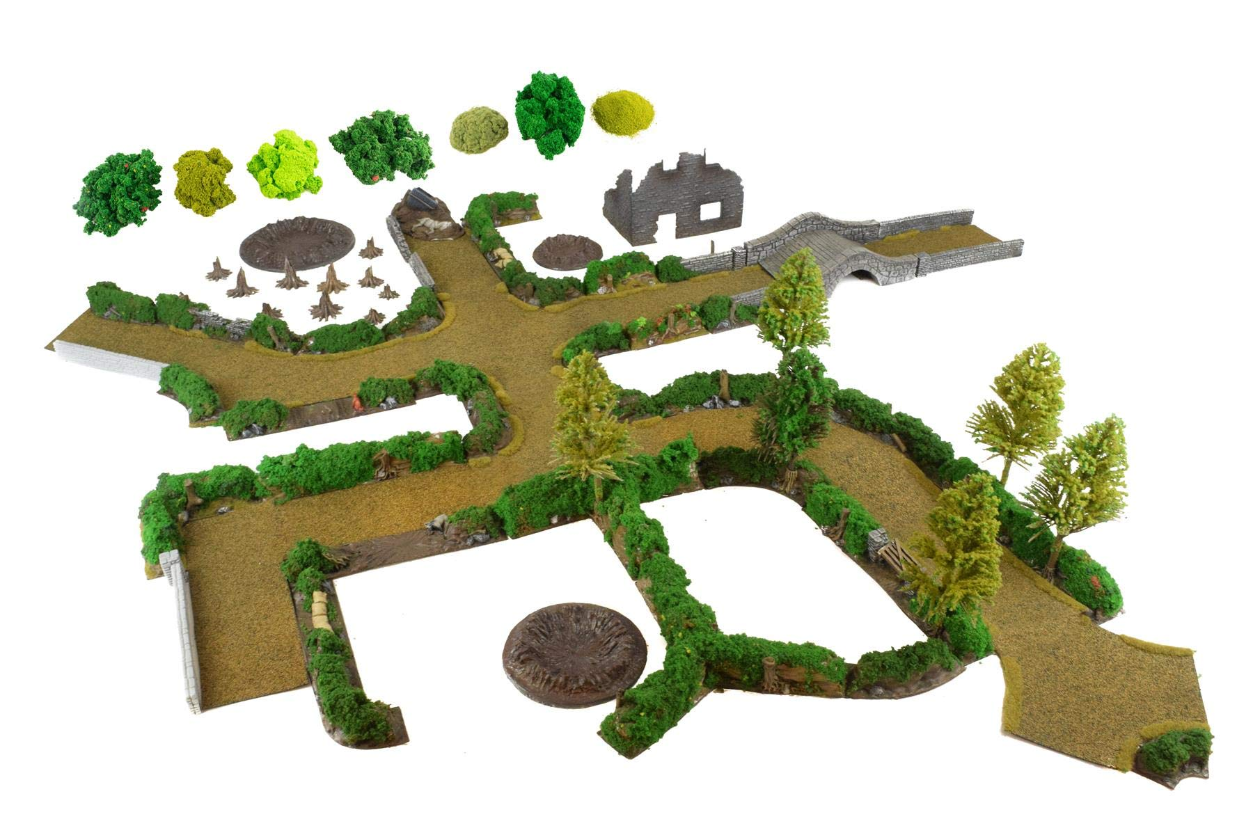 War World Gaming Bocage Complete Set & Dirt Roads with Scenery (Also Available with Paint Set) - 28mm WW2 Wargame Terrain Scenery
