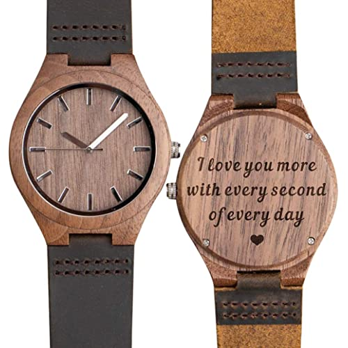 Engraved Wooden Watch for Son Dad Boyfriend Personalized Groomsmen Gift Custom Son Graduation Gift from Mom