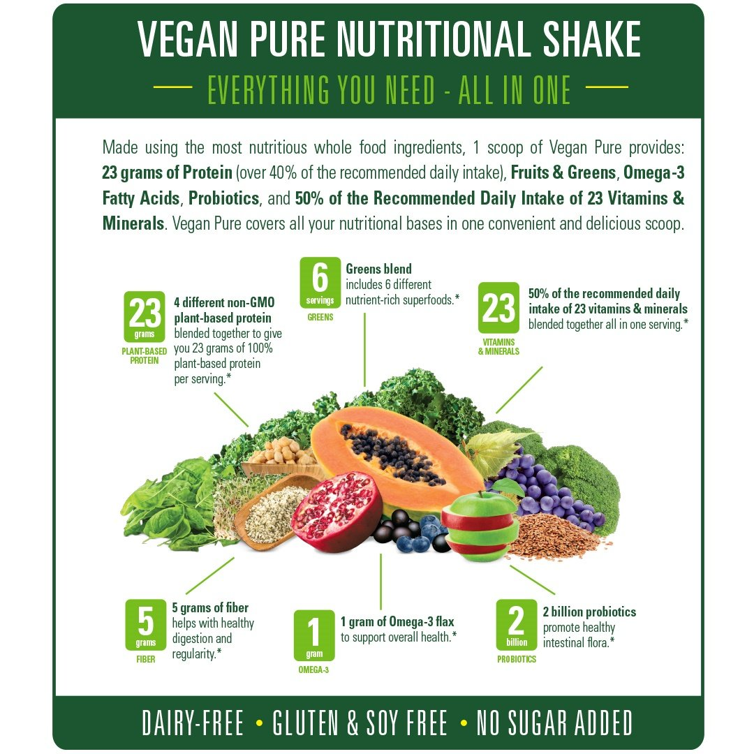 Amazon.com: Vegan Pure All In One Nutritional Shake, Vegan Chocolate Flavor Plant-Based Protein Powdered Drink, 1.34 Pounds (12 Servings), Dairy Free, ...