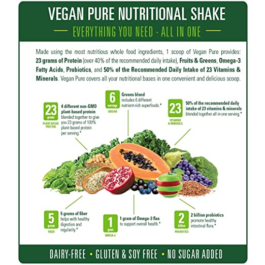 amazon com vegan pure all in one nutritional shake vegan vanilla flavor plant based protein powdered drink 1 34 pounds 12 servings dairy free