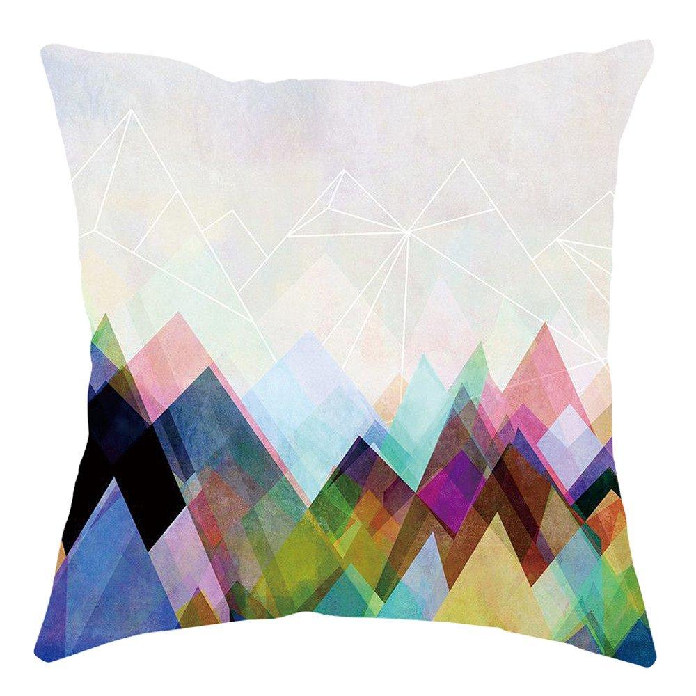 Pgojuni Home Cushion Cover Geometric Throw Pillow Cover Square Accent Cushion Cover Pillow Case for Sofa/Car/Bed 1pc (E)