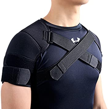 59ac0b4937 Image Unavailable. Image not available for. Color: Kuangmi Double Shoulder  Support Brace Strap Wrap ...