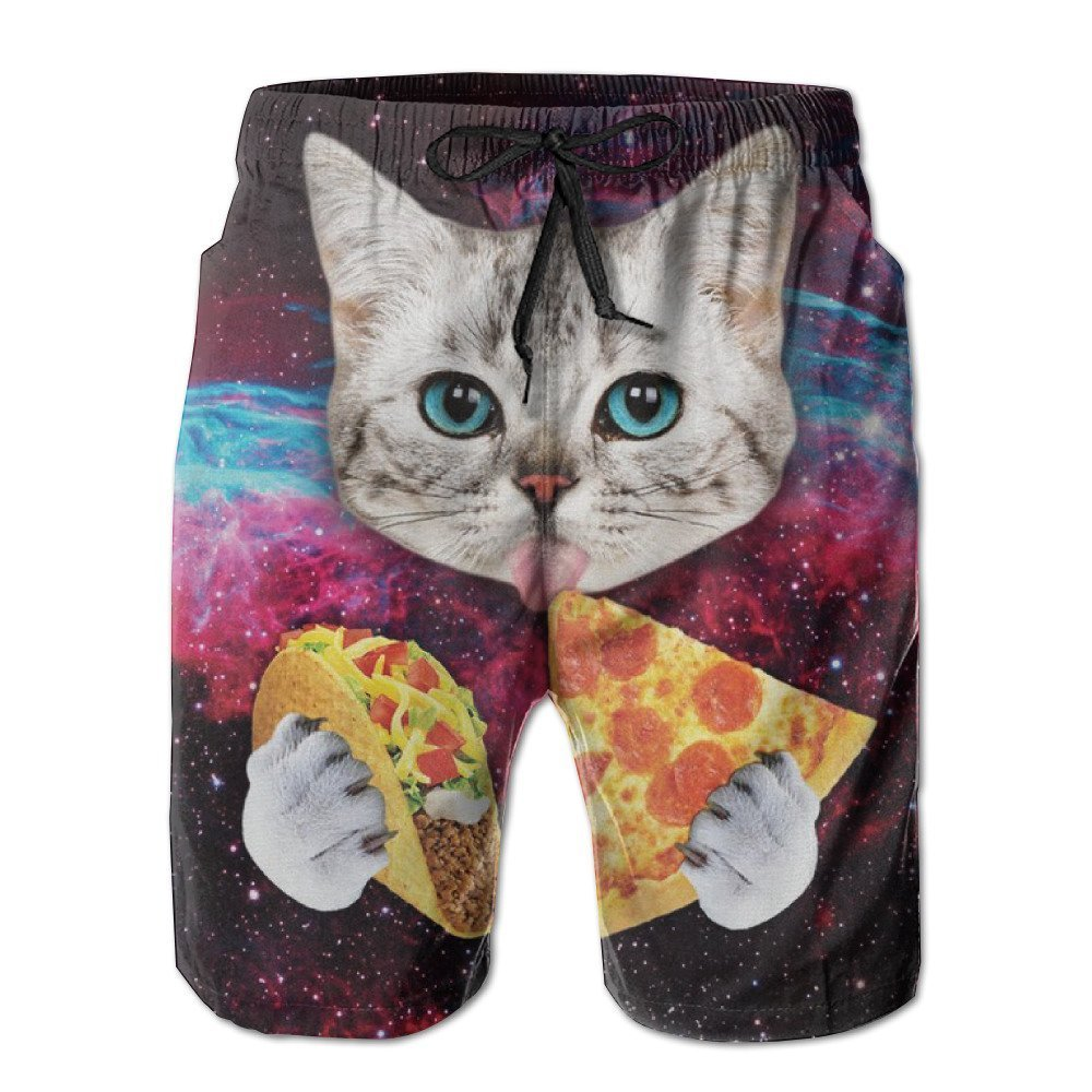 MOONLIT DECAYED Men's Swim Trunks Galaxy Taco Cat Pizza Quick Dry Board Shorts Bathing Suits Swimwear Volley Beach Trunks