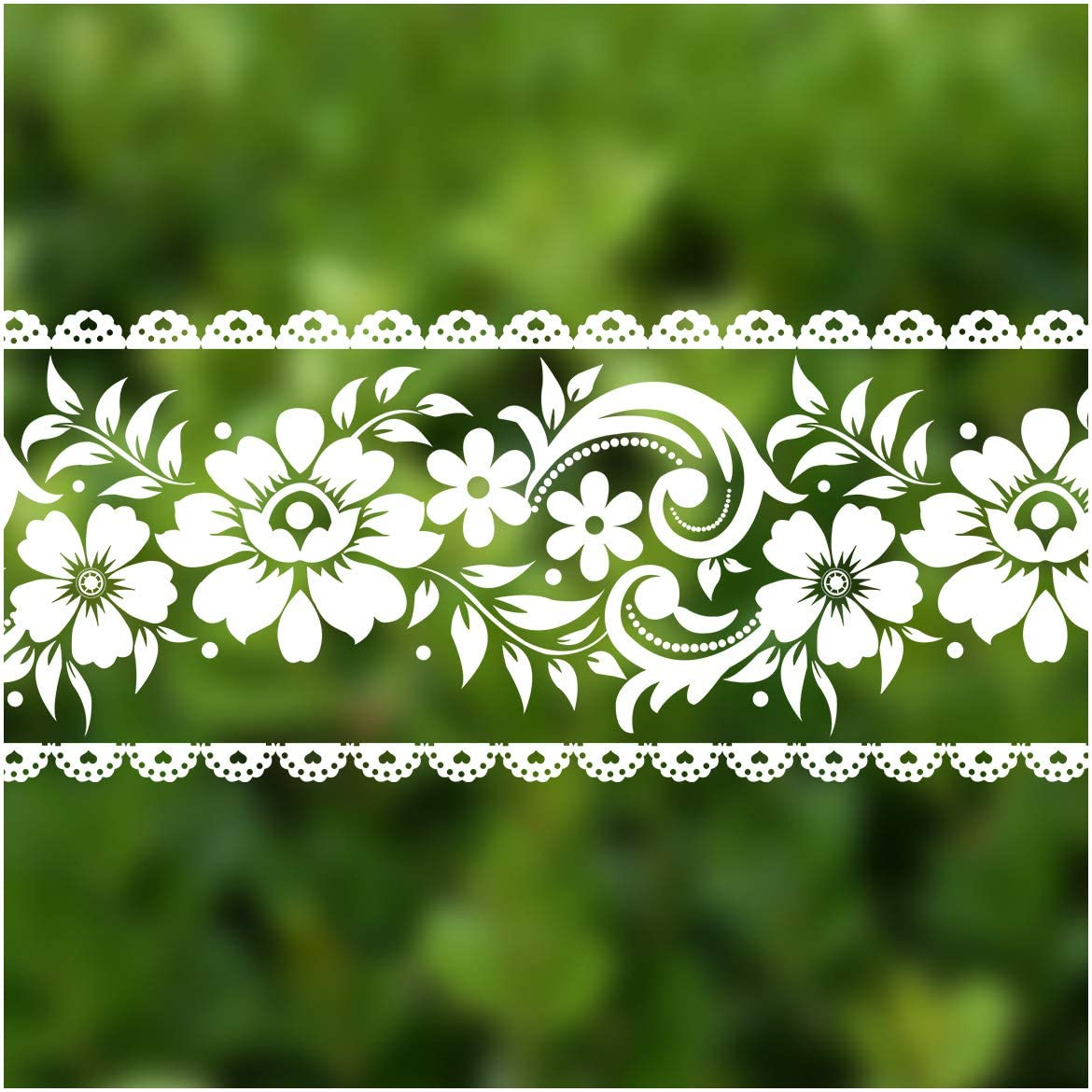 VEELIKE Lace Border Window Sticker Transparent White Removable Peel and Stick Wallpaper Wall Waist Line Sticker for Wall Glass Window Door Home Decor DIY (4 inch×32.8 ft)