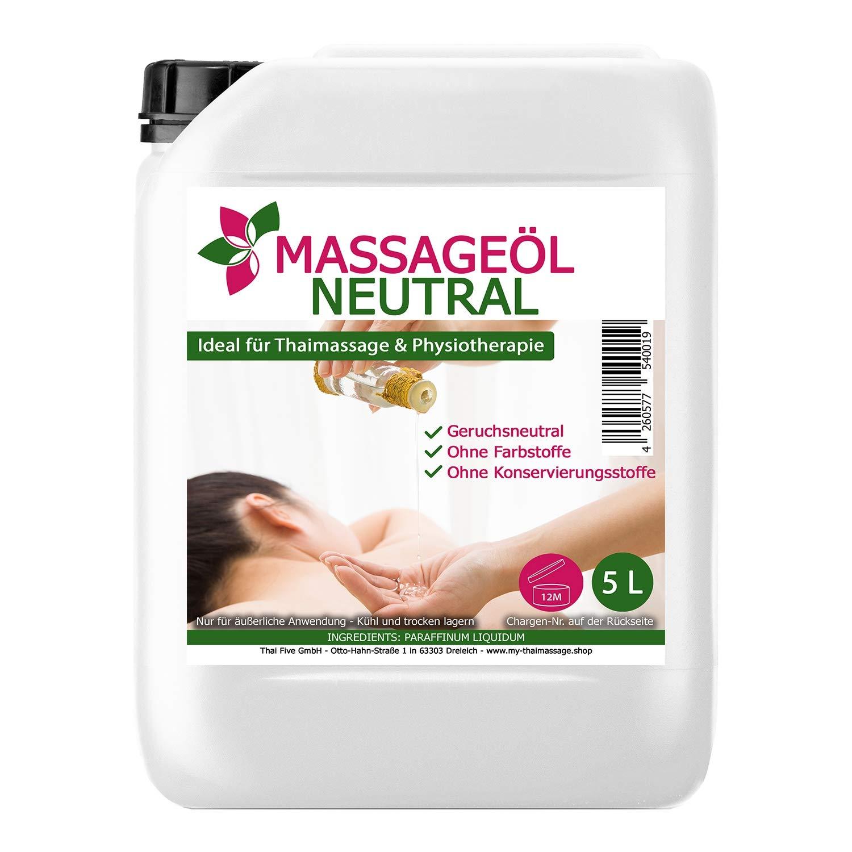 Olio di Massaggio neutro 5 litri (5000ml) - MyThaiMassage - Olio per massaggio Thai, Fisioterapia Spa, olio di base senza profumo Thai Five GmbH