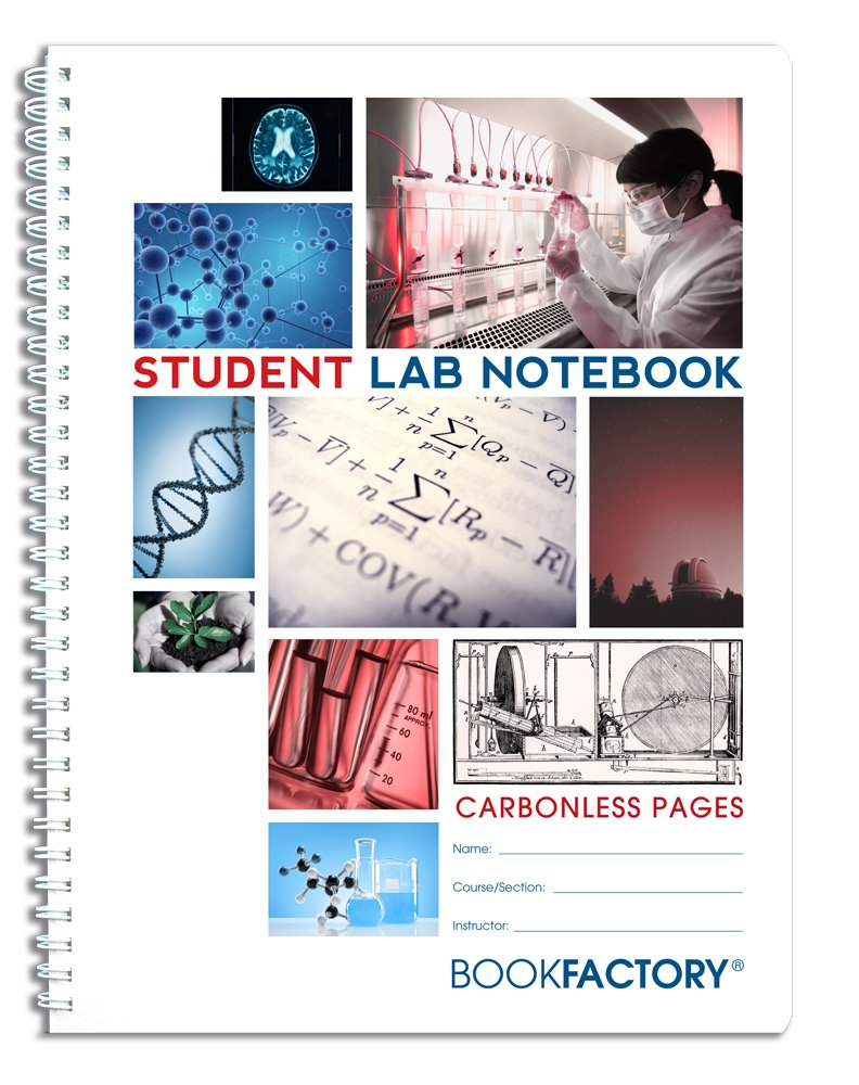 BookFactory Carbonless Student Lab Notebook - 50 Sets of Pages (8.5'' X 11'') (Duplicator) - Scientific Grid Pages, Durable Translucent Cover, Wire-O Binding (LAB-050-7GW-D (Student))