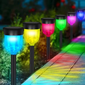 Upgrade Solar Pathway Lights Outdoor, 6 Pack Waterproof Super Bright Color Changing Garden Colored Landscape Lighting for Lawn, Patio, Yard, Walkway, Sidewalk, Driveway