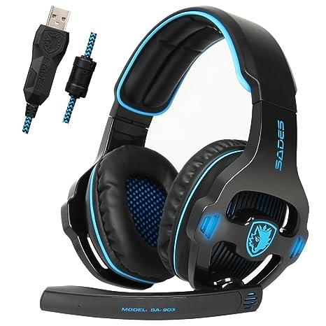 e16bf9ea617 Amazon.com: Sades SA903 USB 7.1 Surround Sound Stereo Gaming Headset with  Mic: Computers & Accessories