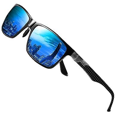 188d7e20a36 DUCO Mens Classic Rectangular Polarized Metal Frame Sunglasses with Carbon  Fiber Temples 8206 (Black Frame