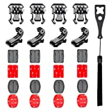 Followsun 25 in 1 Helmet Adhesive Pads Sticker Flat Curved Mounts Accessories kit with Buckle Clip Base Mount J-Hook Buckle For GoPro HERO 6 5 4 3+ 3 Sport Action Camera