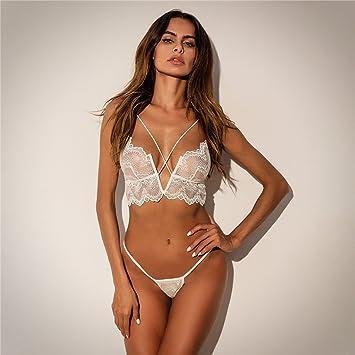 Liu Sensen Lencería para Mujeres Lencería Sexy De Encaje Blanco Sujetador De Pecho Desnudo Bikini Backless