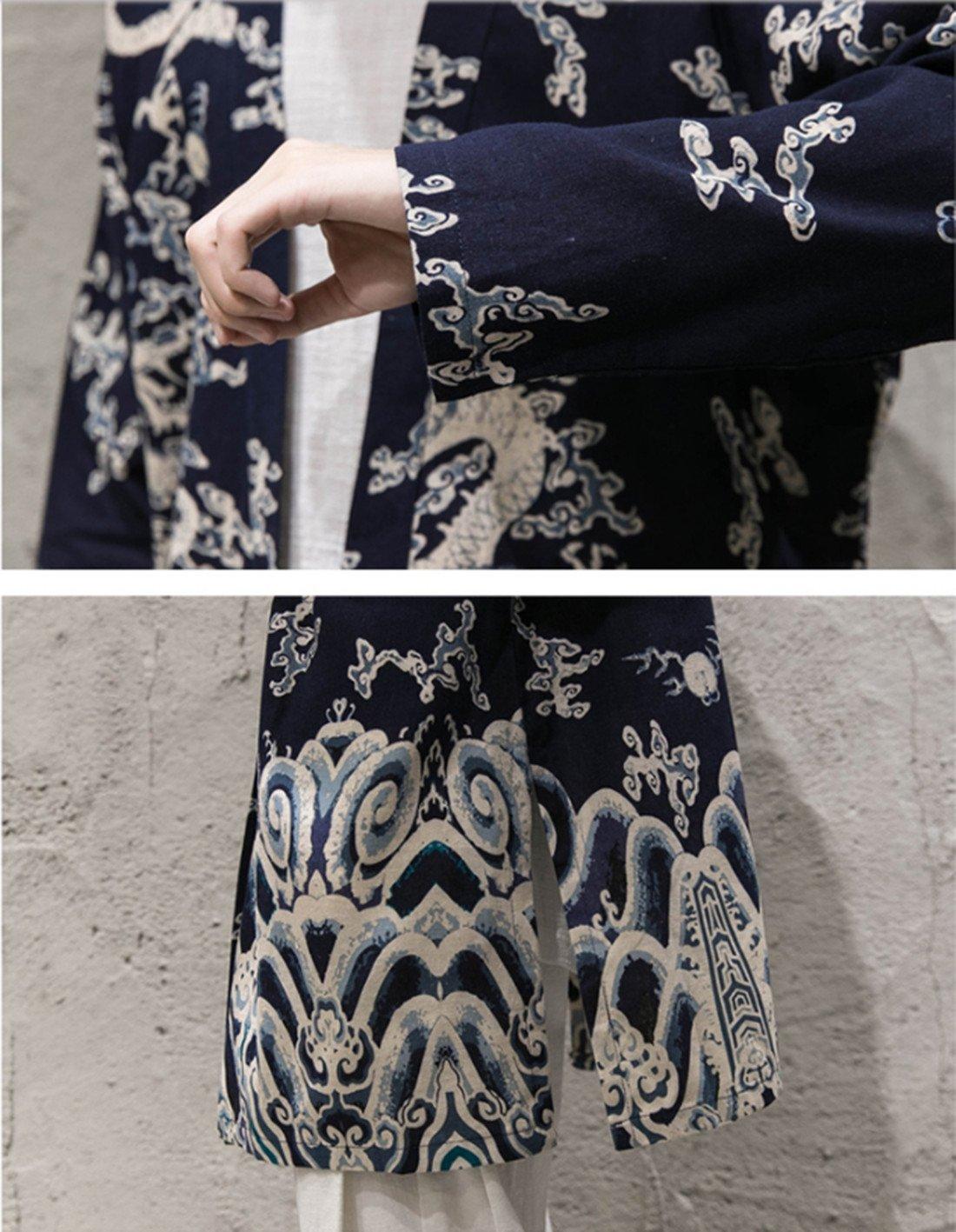 Hzcx Fashion Men's Cotton Linen Blends Vintage Cloak Open Front Coat DSC229-F25-65-DR-US XL TAG 5XL